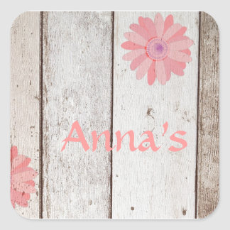 Rustic Wood With Pink Flowers Stickers