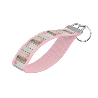Rustic Wood With Pink Flowers Wrist Keychain