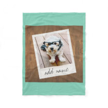 Rustic Wood with Square Photo Frame Fleece Blanket