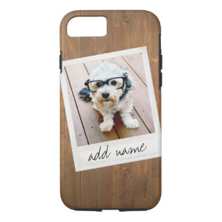 Rustic Wood with Square Photo Frame iPhone 7 Case