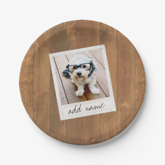 Rustic Wood with Square Photo Frame Paper Plate