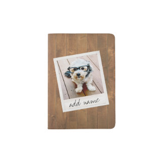 Rustic Wood with Square Photo Frame Passport Holder