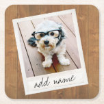 """Rustic Wood with Square Photo Frame Square Paper Coaster<br><div class=""""desc"""">Add your favorite picture to this template.</div>"""