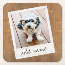 Rustic Wood with Square Photo Frame Square Paper Coaster