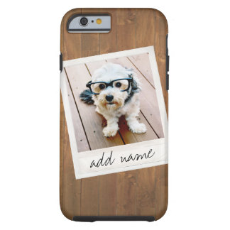 Rustic Wood with Square Photo Frame Tough iPhone 6 Case