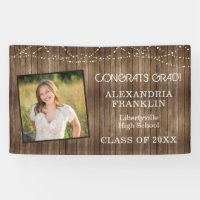 Rustic Wood with String Lights & Photo Graduation Banner