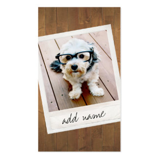 Rustic Wood with vintage square photo frame Double-Sided Standard Business Cards (Pack Of 100)