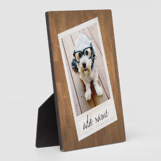 Rustic Wood with vintage square photo frame Plaques