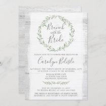 Rustic Wood Wreath Bridal Shower Brunch Invitation