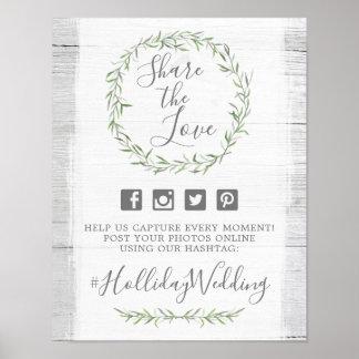 Rustic Wood & Wreath Wedding Hashtag Photo Sign