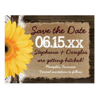 Rustic Wood Yellow Daisy Save the Date Postcards