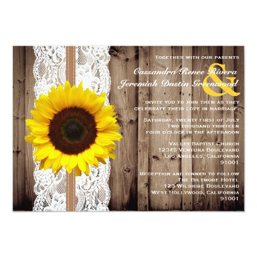 Rustic Wooden and Lace with Sunflower Wedding 5x7 Paper Invitation Card