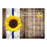 Rustic Wooden and Lace with Sunflower Wedding Card