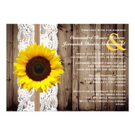 Rustic Wooden and Lace with Sunflower Wedding Personalized Invite