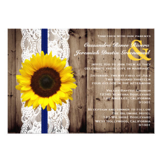Rustic Wooden and Lace with Sunflower Wedding Announcement
