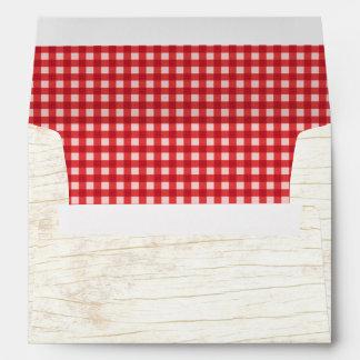 Rustic Wooden Bark & Red Gingham Wedding Envelope