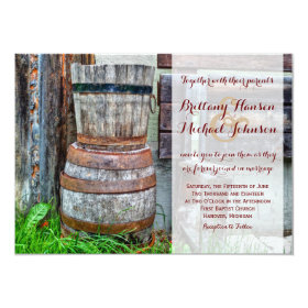Rustic Wooden Barrel Country Wedding Invitation 4.5