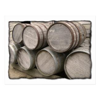 Rustic Wooden Barrels Postcard
