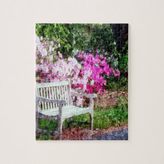 Rustic Wooden Bench In The Park Jigsaw Puzzle