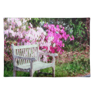 Rustic Wooden Bench In The Park Placemat