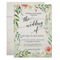 Rustic Wooden Blush and Ivory Roses Floral Wedding Invitation