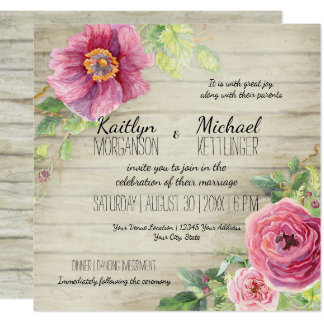 Rustic Wooden Board Floral Rose Peony Country Chic Card
