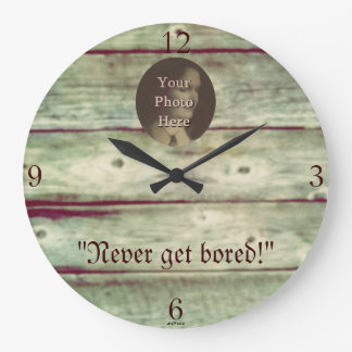 Rustic Wooden Board Photo Background Round Wallclock