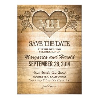 rustic wooden country save the date cards