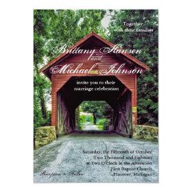 Rustic Wooden Covered Bridge Wedding Invitation