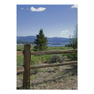 Rustic Wooden Fence and Mountains Poster