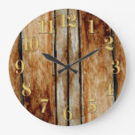 Rustic Wooden Fence Boards Effect Clock