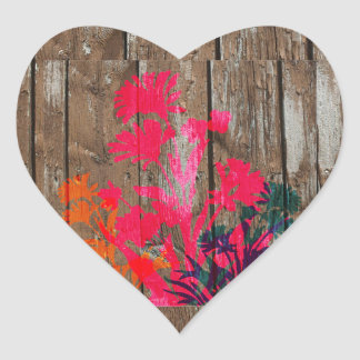 Rustic wooden flower design heart sticker