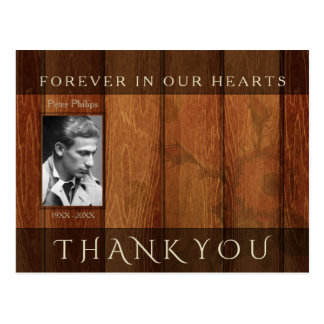 Rustic Wooden Frame Sympathy Thank You Postcard 2