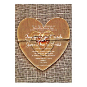 Rustic Wooden Heart Burlap Country Wedding Invites