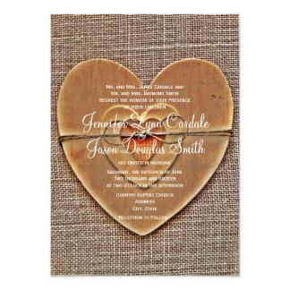 Rustic Wooden Heart Burlap Country Wedding Invites Invite