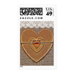 Rustic Wooden Hearts Burlap Lace Wedding Stamps