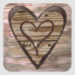 Rustic wooden hearts love envelope seal stickers