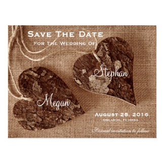 Rustic Wooden Hearts Wedding SaveTheDate Postcard