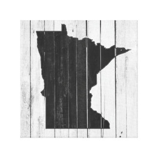 Rustic Wooden Minnesota Black and White Canvas Print