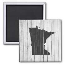 Rustic Wooden Minnesota Black and White Magnet