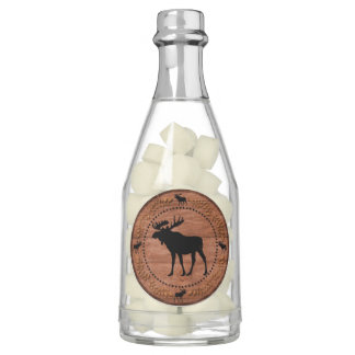 Rustic wooden moose champagne wedding favor bottle chewing gum favors