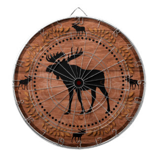 Rustic wooden moose circle dart board