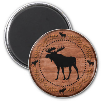 Rustic wooden moose circle magnet