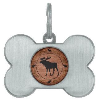 Rustic wooden moose circle pet bone tag