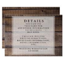 Rustic Wooden Pallet Wedding Reception Details Invitation