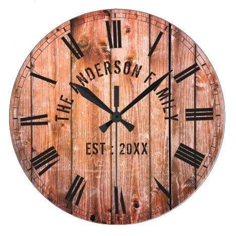 Rustic Wooden Planks Custom Family Name Farmhouse Large Clock