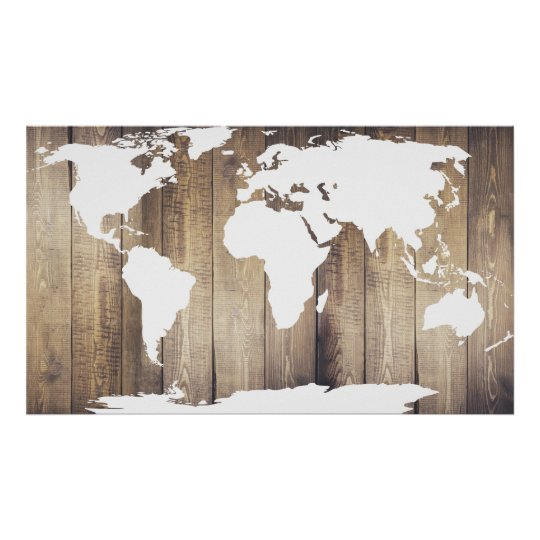 Rustic Wooden Planks White World Map Poster