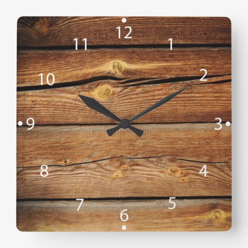 rustic wooden planks wood board country gifts square wall clock zazzle