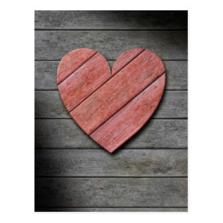 Rustic Wooden Red Heart Postcard