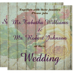 Rustic Wooden Roses Design Wedding Invitation at Zazzle